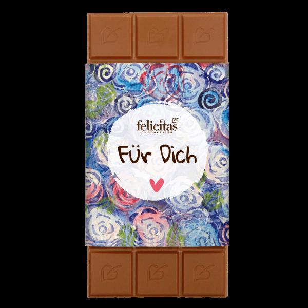 Schokoladentafel mit Blumenmotiv 100g