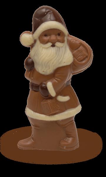Weihnachtsmann mit Sack mittel aus Schokolade
