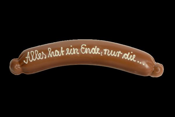 Bratwurst beschriftet aus Schokolade