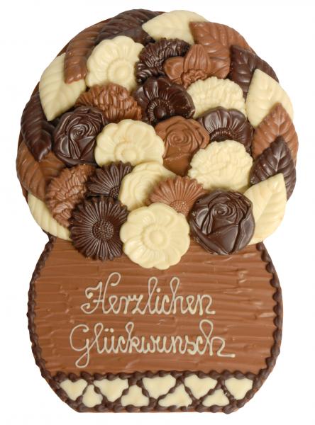 Schokoladenplatte Blumenkorb Herzlichen Glückwunsch