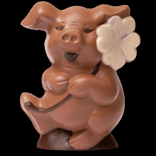 Glücksschwein aus Schokolade