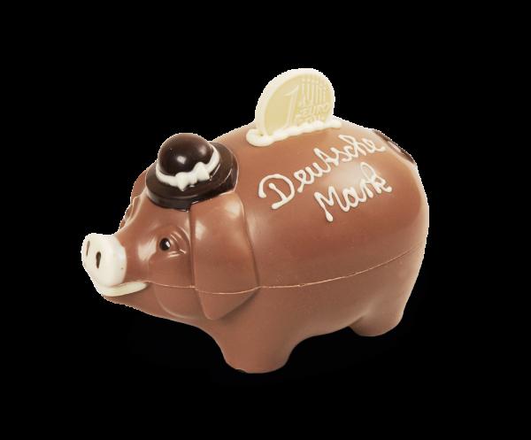 Schokoladen-Sparschwein gefüllt mit Pralinen