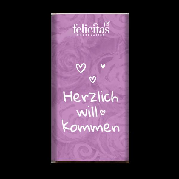 """Mini-Täfelchen """"Herzlich willkommen"""" Zartbitter"""