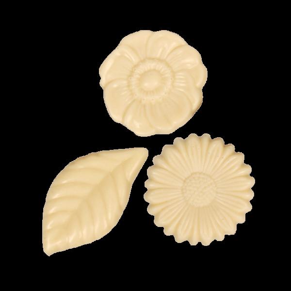 Schokoladenplättchen Blüten weiß 100g