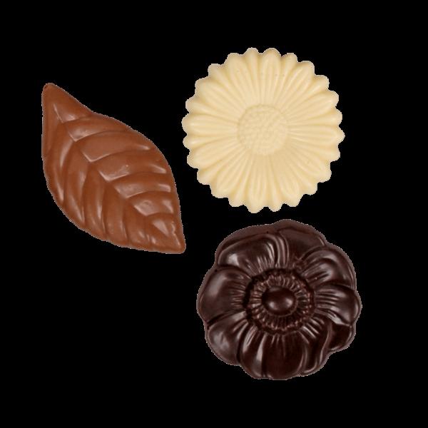 Schokoladenplättchen Blüten gemischt 100g