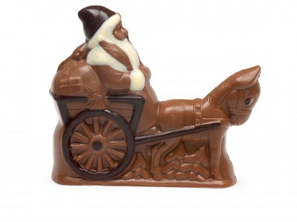 Weihnachtsmann mit Kutsche klein aus Schokolade