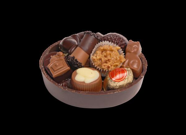 Schokoladen-Schale oval gefüllt mit Pralinen