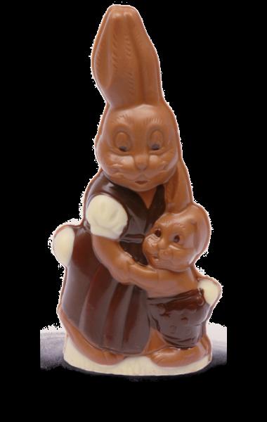Hasenmutter mit Kind aus Schokolade